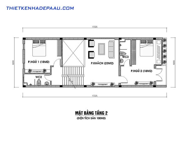 Thiết kế nhà phố kết hợp với kinh doanh hiện đại 3 tầng 1 tum có gác lửng tại Nam Định- mb2