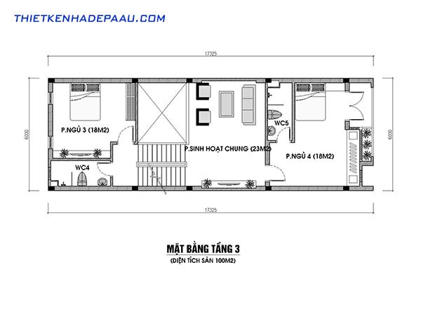 Thiết kế nhà phố kết hợp với kinh doanh hiện đại 3 tầng 1 tum có gác lửng tại Nam Định- mb3