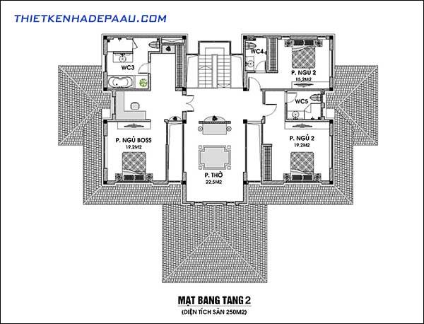 Mẫu biệt thự 2 tầng mái ngói 250m2 tại Hải Phòng-mb2