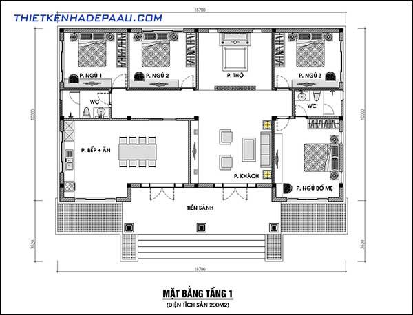 Mẫu nhà 3 gian cấp 4 diện tích 200m2 tại Quảng Ninh-mb