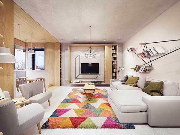 Thiết kế nội thất căn hộ chung cư 90m2 với những màu sắc rực rỡ- 4