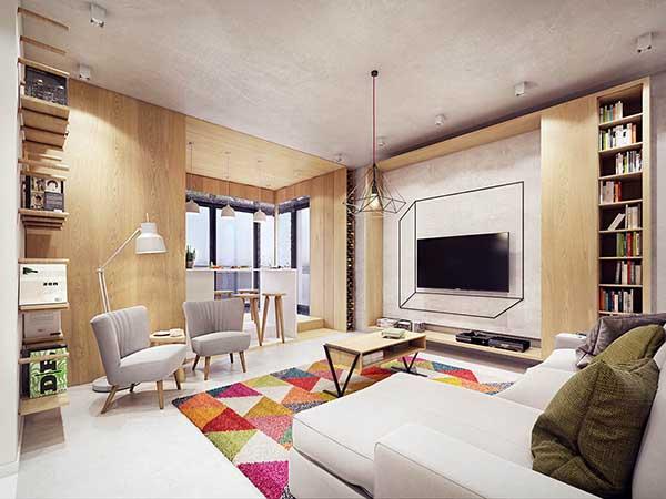 Thiết kế nội thất căn hộ chung cư 90m2 với những màu sắc rực rỡ- 5