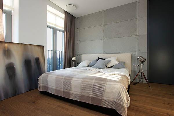 Phòng ngủ căn chung cư sử dụng nội thất hiện đại
