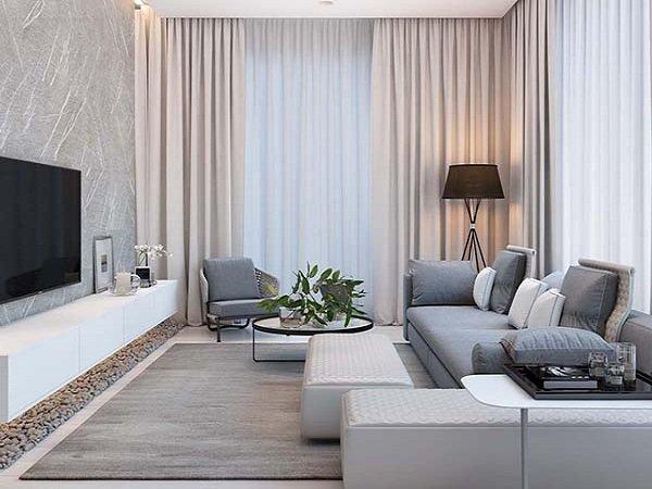 Phòng khách gọn gàng với bộ ghế sofa hiện đại