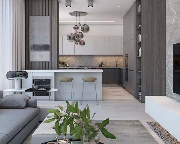 Thiết kế nội thất căn hộ chung cư 100m2 phong cách hiện đại- 3