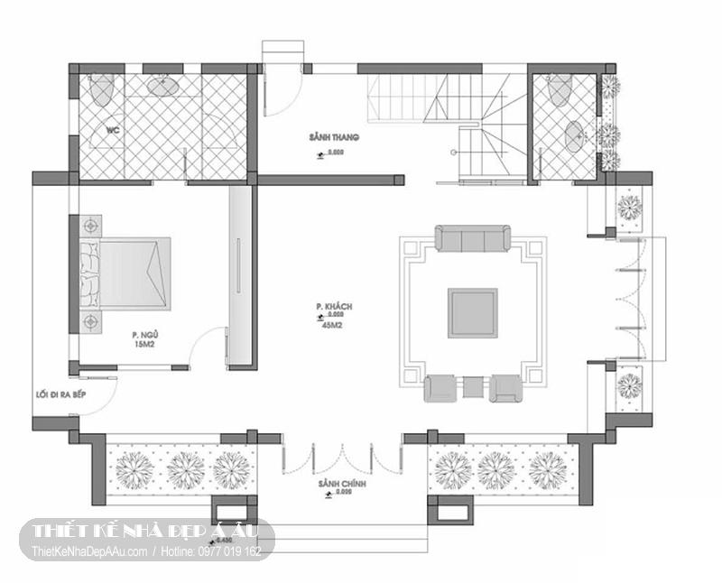 bản vẽ mặt bằng biệt thự 2 tầng mái thái 100m2