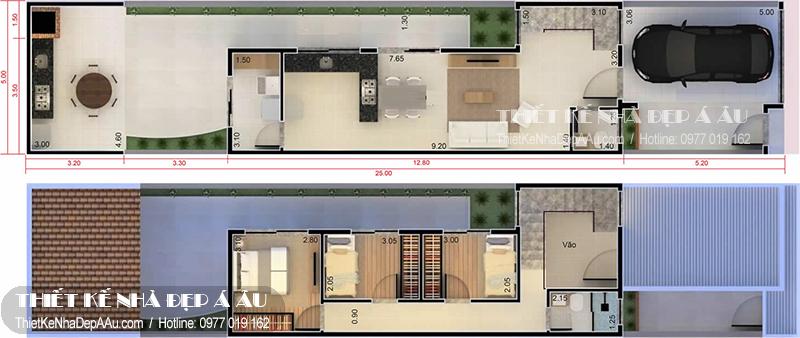 Bản vẽ mặt bằng nhà phố 2 tầng 4 phòng ngủ