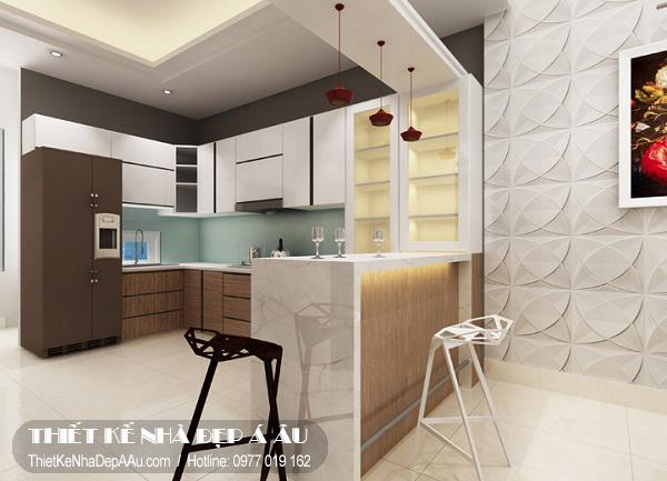 Sắp xếp nội thất cho phòng bếp thông thoáng.