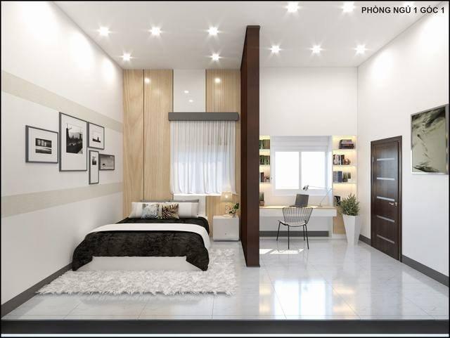 phòng ngủ ngăn cách làm đôi để bố trí giường và bàn học