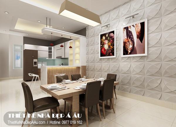 Phòng bếp thiết kế theo phong cách hiện đại.