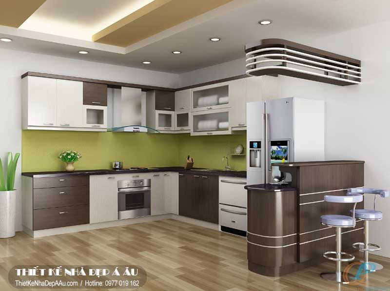 Thiết kế nội thất phòng bếp thông thoáng