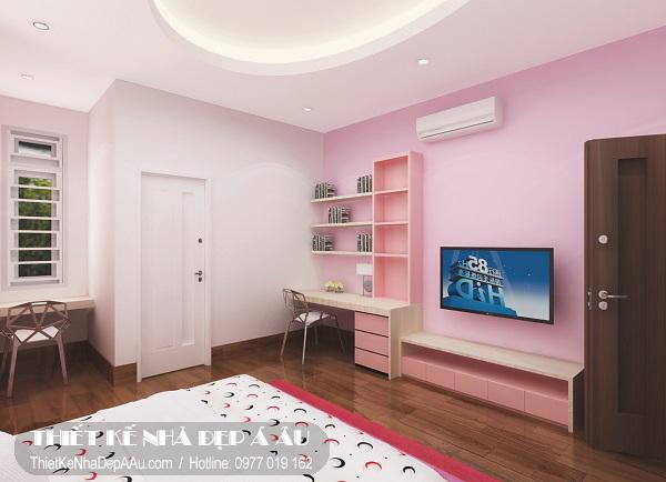 Phòng ngủ cho bé sử dụng tone màu nhẹ nhàng hợp với phòng bé gái.
