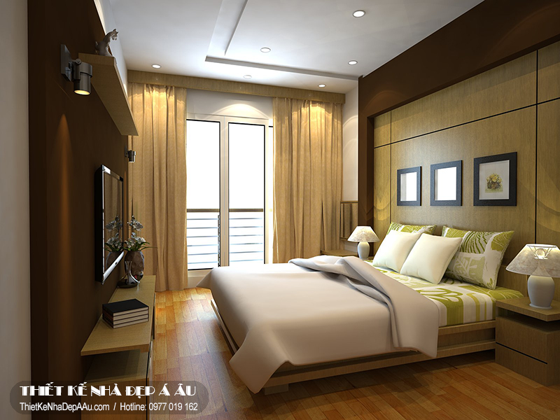 Phòng ngủ có tone màu sắc nhẹ nhàng, tươi mát