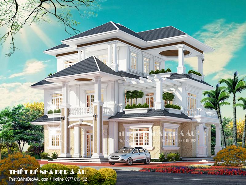 Bản vẽ thiết kế nhà 3 tầng mái thái mặt tiền 12m