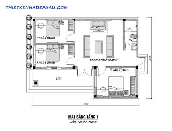 mặt bằng bố trí 3 phòng ngủ trên diện tích 100m2