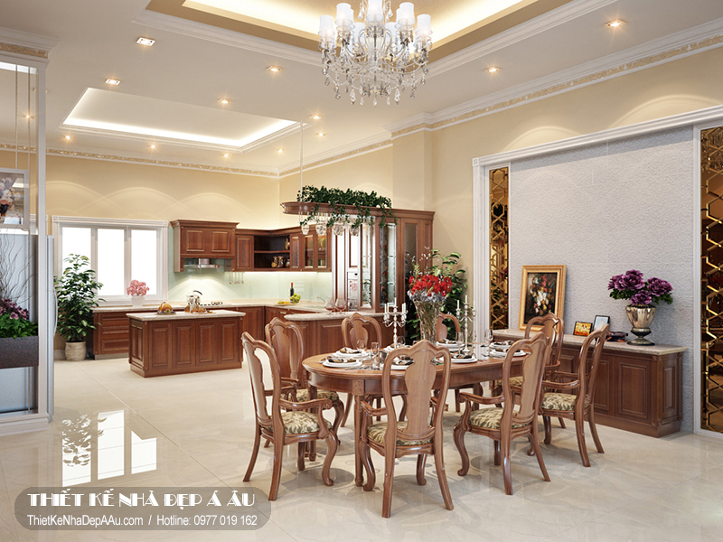 Phòng ăn được thiết kế liên thông với phòng bếp độc đáo