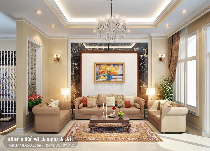 Thiết kế phòng khách biệt thự tân cổ điển 150m2