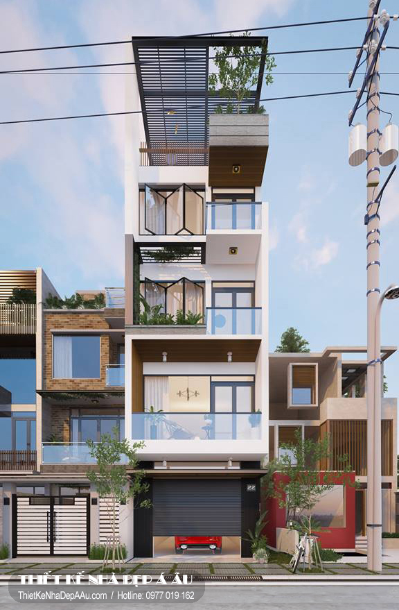 Bản vẽ phối cảnh mẫu nhà phố 5 tầng 4x15m