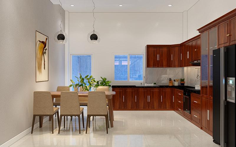 thiết kế nội thất không gian nhà bếp hiện đại