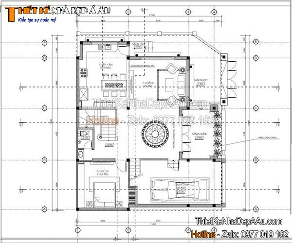 Bản vẽ mặt bằng biệt thự 3 tầng mái thái 100m2