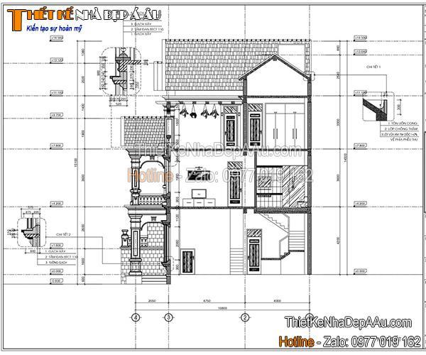 Bản vẽ mặt cắt biệt thự 3 tầng mái thái 100m2