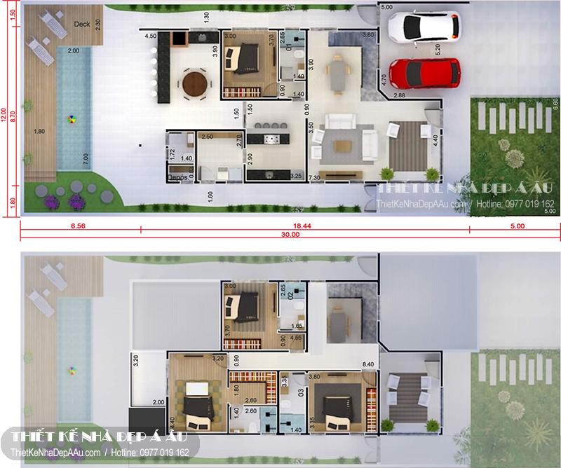 Mặt bằng tầng 1 và tầng 2 căn biệt thự 2 tầng mặt tiền 12m