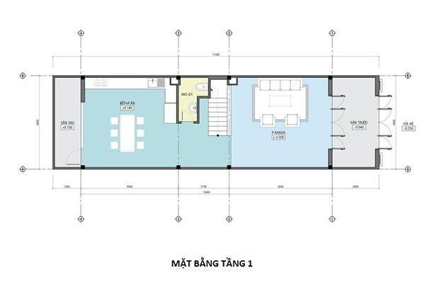 Cách bố trí nội thất tầng 1 cho căn nhà phố 4 tầng 5x13.