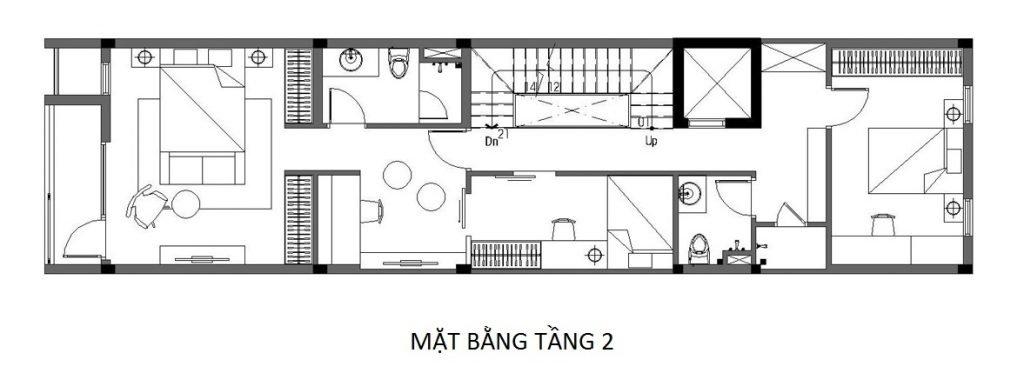 Bản vẽ mặt bằng nhà phố 4 tầng