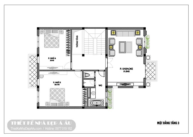 Phương án thiết kế mặt bằng tầng 3