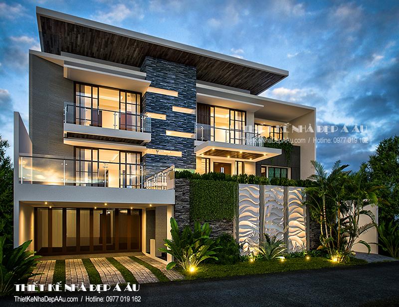 mặt tiền biệt thự nghỉ dưỡng hiện đại 3 tầng