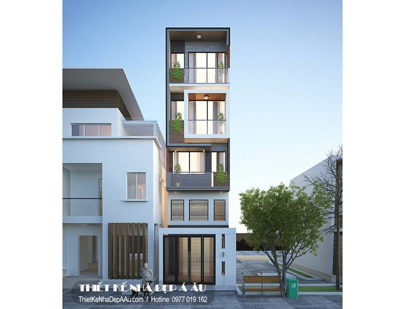 Thiết kế nhà phố 5 tầng mặt tiền 3m