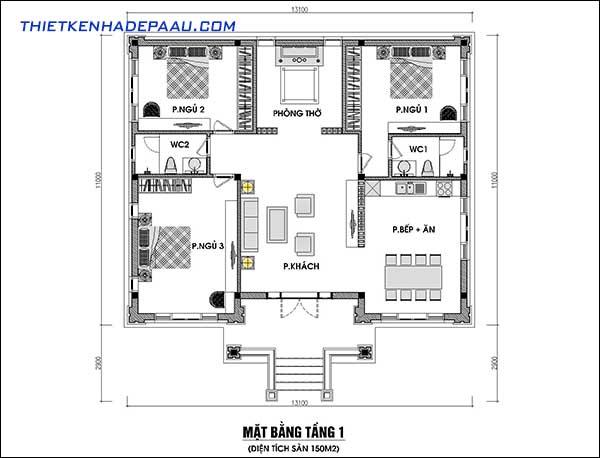 mặt bằng diện tích 150m2 bố trí 1 phòng khách 3 phòng ngủ 1 phòng thờ