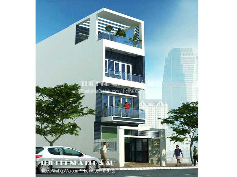 Mẫu nhà phố 3 tầng 1 tum 4x12m