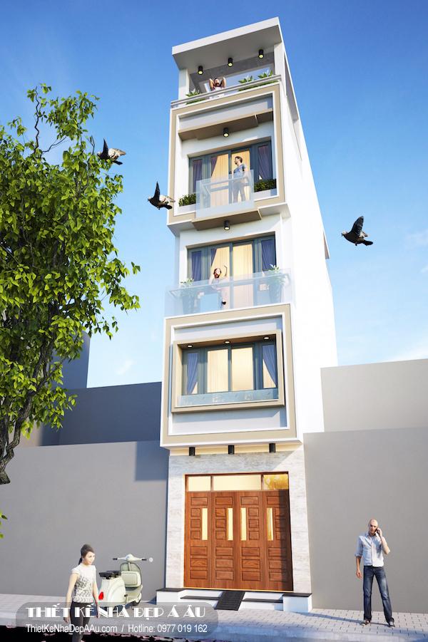 Phương án thiết kế nhà phố 4 tầng mặt tiền 3m 1 tum