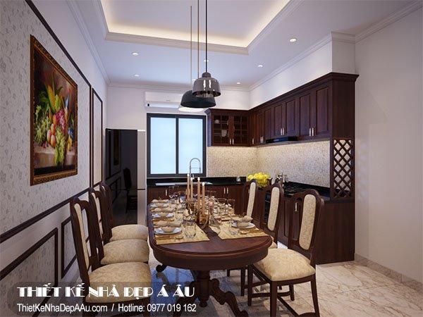 Thiết kế nội thất phòng ăn cho căn nhà phố 4 tầng 1 tum