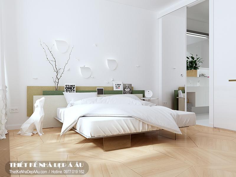 Phòng ngủ được thiết kế hết sức đơn gỉan