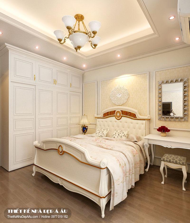 Phòng ngủ được thiết kế theo phong cách tân cổ điển