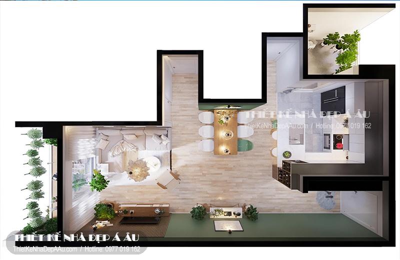Toàn bộ không gian của căn chung cư được xây theo một mặt sàn