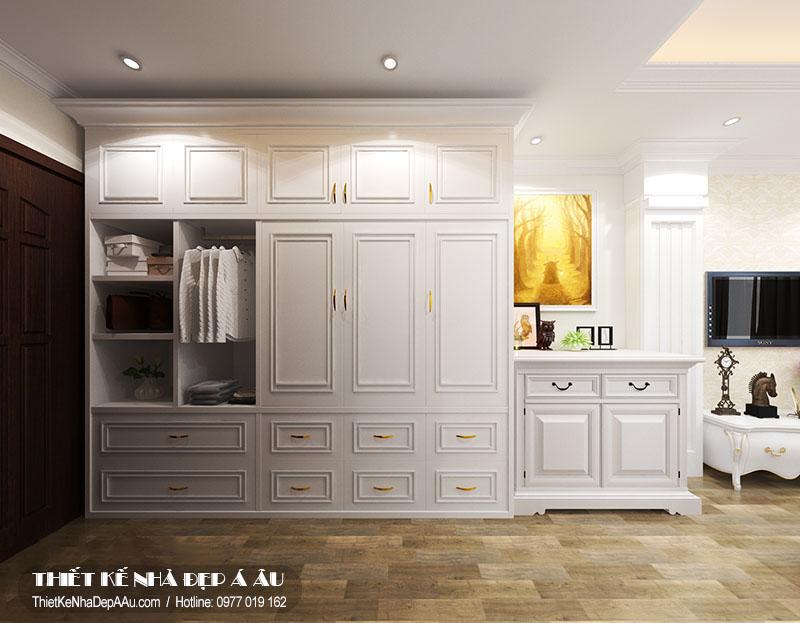 Lựa chọn tủy quần áo cùng tone màu với không gian chung phòng ngủ
