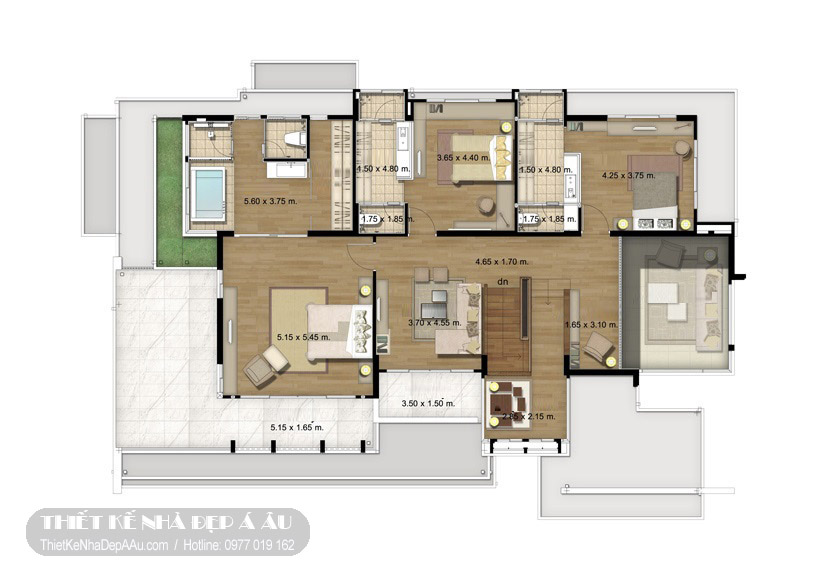 Thiết kế mặt bằng biệt thự 2 tầng hiện đại
