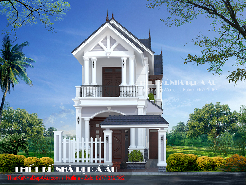 Bản vẽ kiến trúc mẫu nhà mái thái mặt tiền 6m