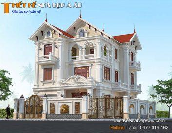 Bản vẽ 3d biệt thự mái thái đẹp