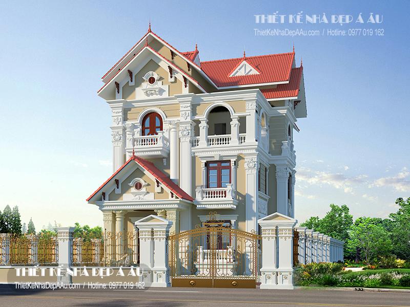 Phương án thiết kế nhà 3 tầng mái thái mặt tiền 10m