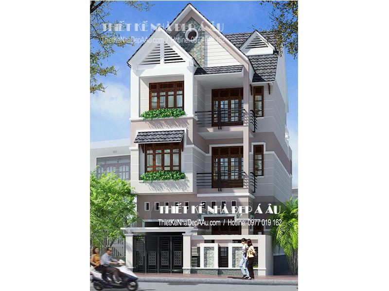 Phương án thiết kế nhà phố 3 tầng mặt tiền 8m