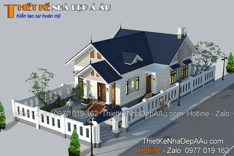 Bản vẽ thiết kế nhà 1 tầng bề thế sang trọng