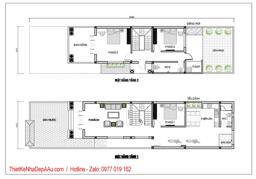 mặt bằng tầng 1 biệt thự 2 tầng mái thái 3 phòng ngủ