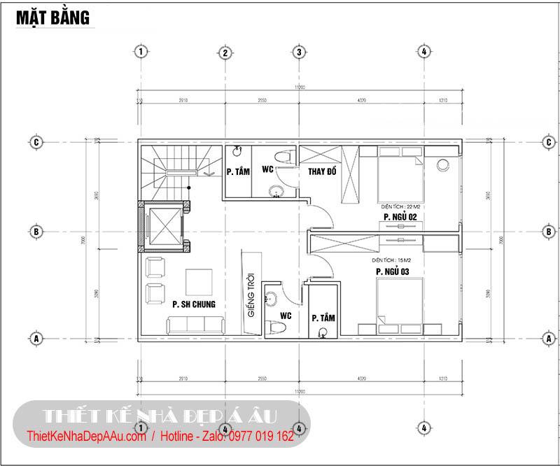 Lên phương án thiết kế mặt bằng tầng 5