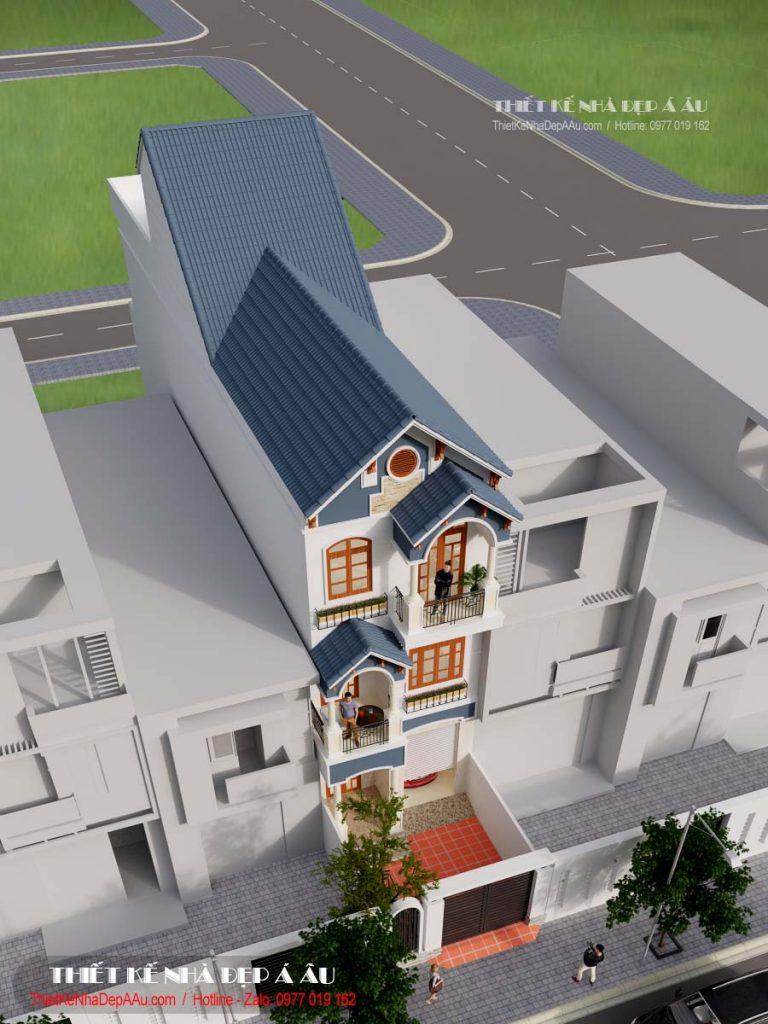 Bản vẽ phối cảnh nhà phố 3 tầng hiện đại