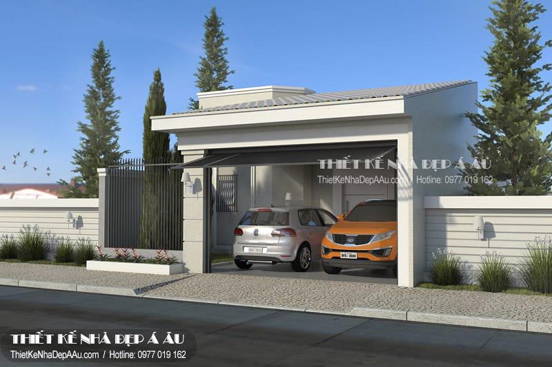 mẫu thiết kế nhà cấp 4 đẹp có gara ô tô