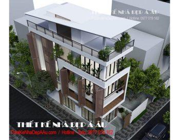 Thiết kế nhà phố 3 tầng 1 tum 2 mặt tiền